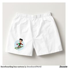 Snowboarding boy cartoon boxers