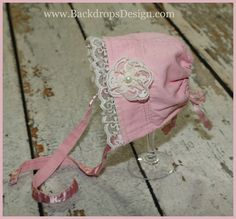Newborn bonnet  photo prop upcycled  easter photography prop vintage style lace Pink cotton. $15.95, via Etsy.