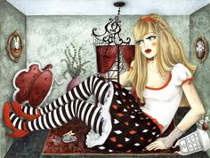 Alice in Wonderland (illustration series) by Raquel Costa a.k.a. little black spot, via Behance