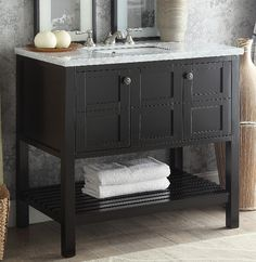 Adelina 36 inch Brown Finish Bathroom Vanity Marble Top