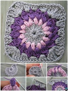 #Crochet Sunburst Granny Square Free Pattern