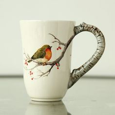 Cheap Rural ceramic tableware painted robin bird ceramic cup creative glass water relief coffee cup Buy Quality Cups directly from China suppliers: Material structure High quality dolomite ceramic Specifications 9 Technology gl Pottery Painting, Ceramic Painting, Ceramic Art, Ceramic Tableware, Ceramic Bowls, Pottery Mugs, Ceramic Pottery, Robin Vogel, Assiette Design