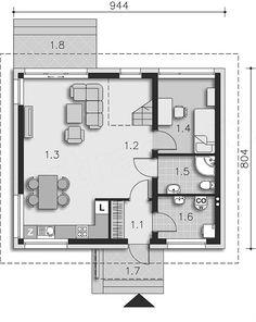 Projekt domu Loreto II DCP304a 100,52 m2 - koszt budowy 153 tys. zł - EXTRADOM New Homes, Floor Plans, House, Loreto, Houses, Tiny Houses, Home, Homes, Floor Plan Drawing