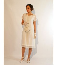 Ivory flapper dress with short sleeves, 1920s flapper dress, Downton Abbey dress, high tea dress, 1920s wedding dress, bridesmaid dress