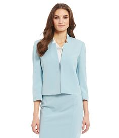 Light blue suiting jacket and skirt / office chic / work wear fashion style / professional / sophisticated