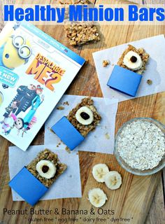 Minion Bars: Healthy Peanut Butter Banana Bars recipe. Gluten free, dairy free, egg free, dye free. Allergy Friendly #peanutbutterbash
