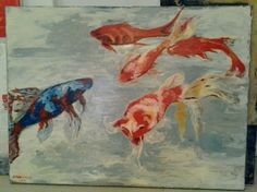 Fishes , acryl on canvas, 90x100