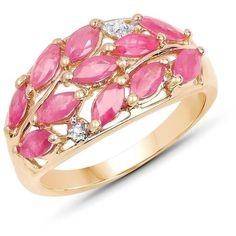 Malaika 14k Yellow Goldplated Sterling Silver 1 1/2ct Ruby and White… ($54) ❤ liked on Polyvore featuring jewelry, rings, pink, enhancer ring, gold plated rings, sterling silver ruby ring, gold plated sterling silver ring and pink ring