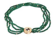 """COLLIER - OLE LYNGGAARD """"LUNA""""    Gull. 14 K.  Fattet med en brilliant 0.08 ct. En kabosjongslipt safir. Fire rader med kuler av malakitt og 23 gull kuler. 1990 - tallet. Original eske.  Antatt kvalitet: Wesselton VS1  DIAMETER LÅS 23 MM Collie, Beaded Necklace, Jewelry, Beaded Collar, Jewlery, Pearl Necklace, Jewerly, Schmuck, Beaded Necklaces"""