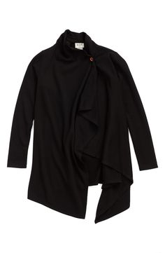 h.i.p. One-Button Brushed Fleece Wrap Cardigan (Big Girls) available at #Nordstrom