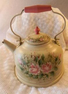 Tea kettle metal hand painted with roses and soft pinks and greens for display only vintage MUST SEE Vintage Shabby Chic, Shabby Chic Decor, Vintage Tea Kettle, Milk Cans, My Cup Of Tea, Chocolate Pots, Flower Market, Tole Painting, Tea Set