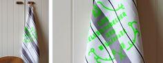"""Geschirrtuch """"Maren"""" – Vom Tellertrockner zum Millionär – screen-printed dish towel, neon-green"""