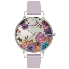Olivia Burton Parlour Grey Lilac & Silver ($149) ❤ liked on Polyvore featuring jewelry, watches, silver dial watches, floral watches, leather strap watches, polish jewelry and gray watches