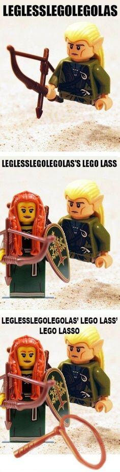 Legless Lego Legolas's Lego lass should also be legless. (makes me think of Dr. Seuss' Fox in Socks)