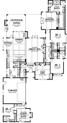 Plan 4 Bed House Plan with Vaulted Guest Suite - English Country Inspiration - House Plans One Story, Ranch House Plans, Dream House Plans, Story House, House Floor Plans, My Dream Home, Dream Homes, Guest Suite, Master Suite