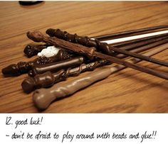 Harry Potter wands made from chopsticks and hot glue