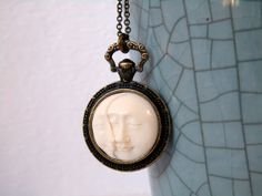 2 MOON Pocket Watch Necklace 2 Faces of the by lululovestocreate, $37.00