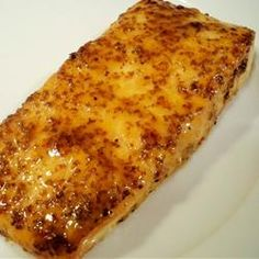 Easiest and best thing Ive had on salmon. 1/4 cup brown sugar, 2 tbsp dijon mustard, 4 boneless salmon fillets, salt/pepper to taste//Broil 10-15 mins!!