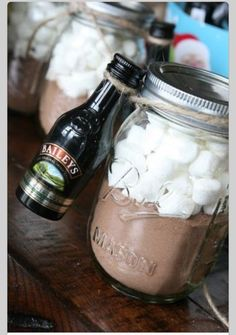 Hot cocoa in a jar. With baileys