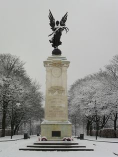 Snow covers the War Memorial, Dartmouth Park, Sandwell, West Bromwich, England