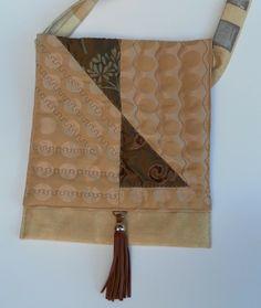 Beautiful, unique patchwork shoulder bag, long quilted front flap, brown, gold £20.00