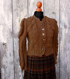 knit sweater, lindyhop 40s style, cardigan lindy hopper handmade handknitted bavarian dirndl