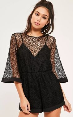 d230a2d9a39 Dress to lace in this black kimono style playsuit - featuring lace  detailing and backless deets.