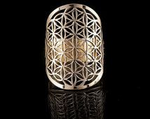 Flower of life Brass ring, sacred geometry,yoga jewelry,tribal brass rings (code 251)