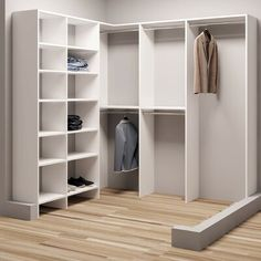 Modular Storage W Divided Shelf Unit - Arbeitszimmer Corner Closet, Front Closet, Kid Closet, Closet Rod, Closet Shelves, Closet Bedroom, Closet Storage, Closet Ideas, Bedroom Corner