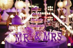 Purple lights can transform your cake table - purple theme very popular for 2014 weddings. Plan My Wedding, Our Wedding, Wedding Planning, Dream Wedding, Wedding Things, Wedding Bells, Wedding Stuff, Purple Summer Wedding, Purple And Green Wedding