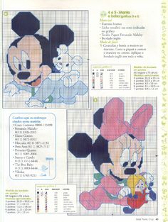 Mickie and Minnie cross stitch patterns.