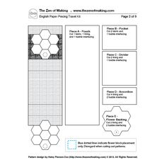 Tutorial: English Paper Piecing Travel Kit, Hexies Part 3 | The Zen of Making http://www.thezenofmaking.com/pdf/English_Paper_Piecing_Travel_Kit_Pattern.pdf