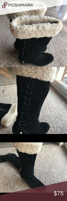 UGGSBlack Suede Wedges Platform Boots Sz7 In great condition, the soles in excellent condition , front and back of the boots suede has some wear but still have great look. Size 7. Very clean and gently worn. Great price for these  Uggs Shoes Winter & Rain Boots