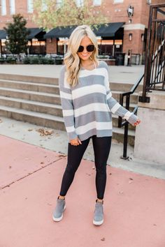 Apr 2020 - This adorable striped sweater is perfect for staying warm this winter! Trendy Summer Outfits, Warm Outfits, Fall Winter Outfits, Sweater Outfits, Cute Outfits, Dress And Sneakers Outfit, Wedges Outfit, Sweaters And Leggings, Cold Weather Outfits