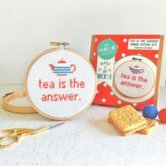 """Is tea the answer to your daily dilemmas? This modern cross stitch craft kit is perfect for tea lovers!  This kit uses a midi sized 4"""" wooden"""