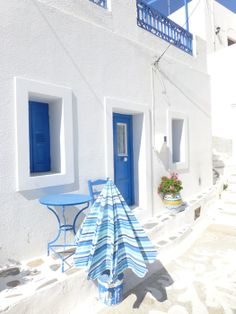 Amorgos, minimal decoration, just the blue and white