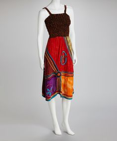 Take a look at this Brown & Red Smocked Sleeveless Dress by Royal Handicrafts on #zulily today!