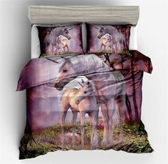 Falling in the dream Unicon Lavender Duvet Cover Set Unicon Quilt Cover Modern Students Comforter Cover with Unicon Birthday Gifts