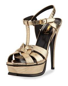 453cc1cde34 Saint Lauret - Tribute Metallic Leather Platform Sandal Sexy Heels
