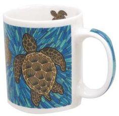 2 Identical Mugs per order. 11 oz. Porcelain Mugs. Designed in Hawaii. Dishwasher and Microwave Safe. Beautifully Designed Gift Box Included. Imprint on handle and inside of mug.