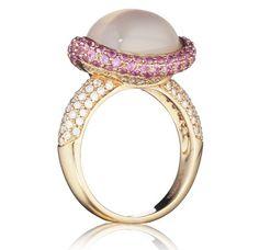 Christophe Danhier 18KRG Milky Rose Quartz, Pink Sapphire & Diamond Ring