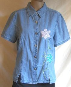 STUDIO EASE Shirt Top Blue Denim Wash Embroidered Floral Button Front  Sz 14 NWT #StudioEase #ButtonDownShirt #Casual