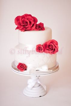 Wedding cake  red roses By sillybakery on CakeCentral.com