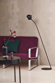 """The Ball Floor Lamp, a classic straight from Denmark, is a minimalist lamp with cup or """"ball"""" like metal shade and matching base. The Ball lamp has a transparent cord that forms an elegant loop from the shade. Desk Lamp, Table Lamp, Berlin Design, Designer, Love Seat, Chrome, Flooring, Lighting, Furniture"""