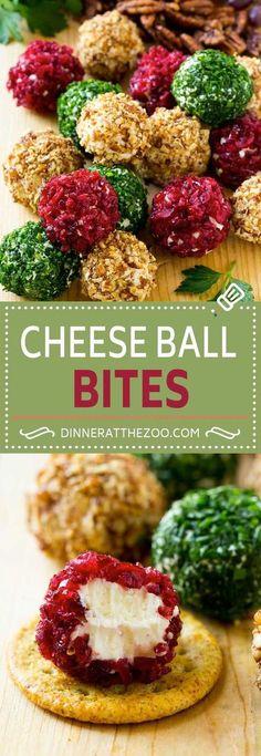 Cheese Ball Bites Recipe | Holiday Cheese Ball Recipe | Pecan Cheese Ball | Cranberry Cheese Ball | Mini Cheese Balls