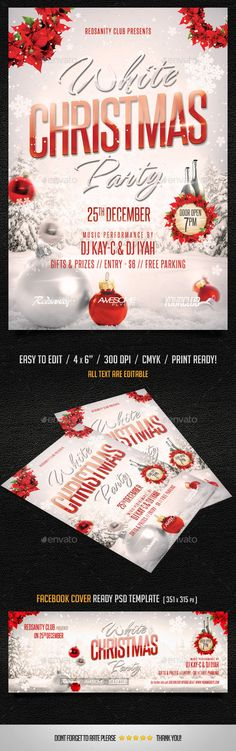 White Christmas Party Flyer plus FB Cover by Redsanity White Christmas Party Flyer Very easy to edit Photoshop Fully Layered PSD File (Flyer & FB Cover) Print Ready Flyer Design Templates, Print Templates, Christmas Design, White Christmas, Christmas Flyer Template, Web Design, Party Flyer, Party Party, Club Parties