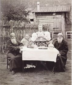 At the Laid Table. From the exhibition «Along the Banks of the Volga River Old Pictures, Old Photos, Culture Art, Frozen In Time, Russian Folk, Historical Costume, Party Fashion, Back In The Day, Views Album