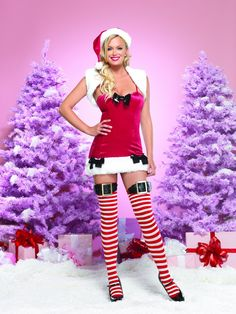 """'""""2pc.Sugar Plum Princess;velvet mini dress and matching plush shrug. Complete the look with LA-A1003 Hat and LA-31018 Stockings.""""'"""