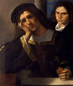 "Title: ""Double Portrait"" Artist: Giorgione Style: High Renaissance Genre: Portrait Date: (1502) Media: Oil on canvas Location: Palazzo Venezia, Rome, Italy"
