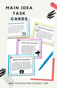 Main Idea and Supporting Details Passages - Here are 24 non-fiction main idea task cards! A perfect low-prep activity for workshop or centers! The first set is easier and multiple choice. Answer keys are provided! 4th Grade Ela, Teaching 5th Grade, 3rd Grade Classroom, 4th Grade Reading, Third Grade, Teaching Main Idea, Whole Brain Teaching, Teaching Ideas, Teaching Writing